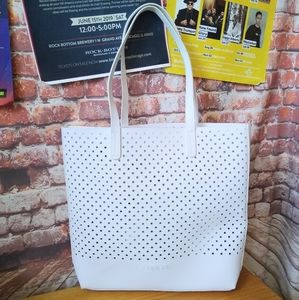 Clinique White Leather Tote & Makeup Bag Set